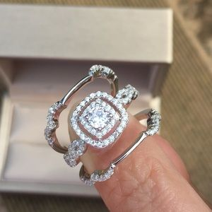 Jewelry - 3pcs 925 Silver Wedding Bands Engagement Ring Set
